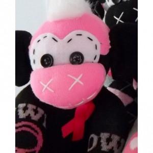 Sock monkey : Breast Cancer Amelia ~ The original handmade plush animal made by Chiki Monkeys