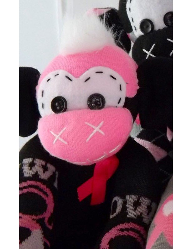 Sock monkey : Breast Cancer Amelia ~ The original handmade plush animal made by Chiki Monkeys