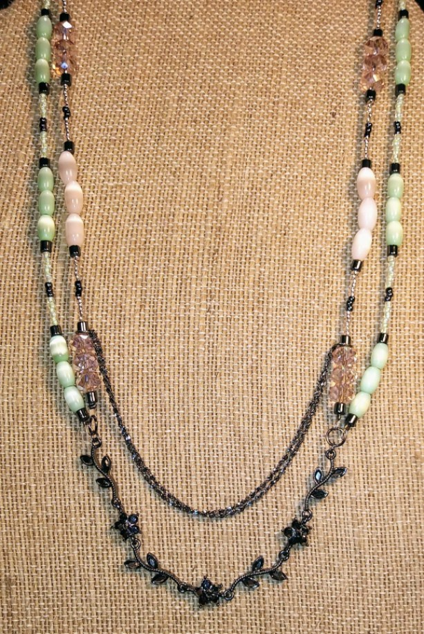 Pink and Green Floral Beaded Necklace