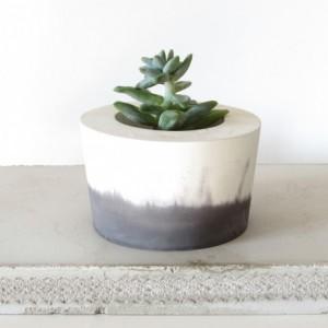 Black and White Concrete Planter || Cement Pot