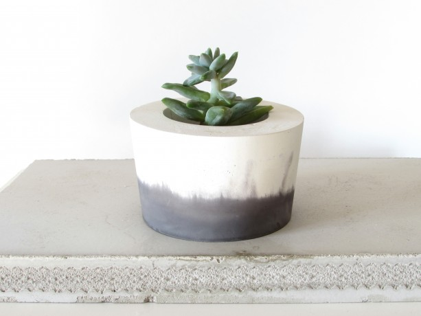 black and white concrete planter cement pot aftcra