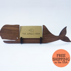 Whale business card holder for desk