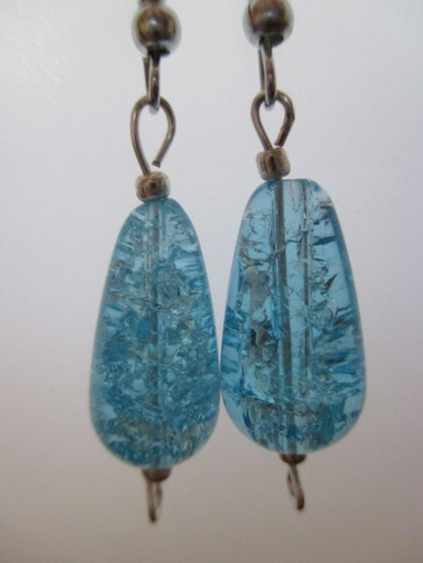 Aqua Seas Cracked Quartz Crystal Ladies Pierced Earrings