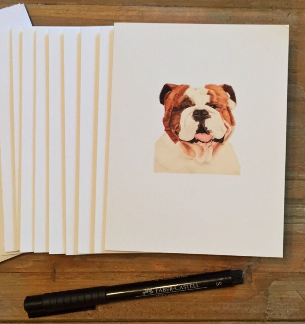 English Bulldog Cards with envelopes, English Bulldog Gift, Bulldog, Blank Note Cards, Stationery Set, Custom Stationery, Stationery Gift