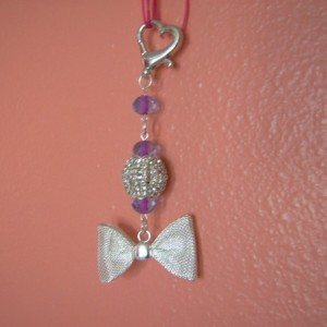 Mesh Bow with Pink Beads Handbag Charms