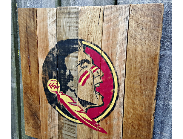 Rustic Handmade Florida State University Seminoles FSU Recalimed Wooden Pallet Sign