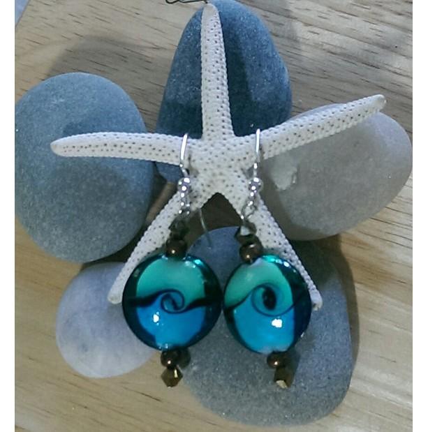 Green and Blue Swirl Earrings