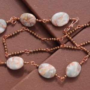 Copper Necklace  with Red Veigned Jasper Beads