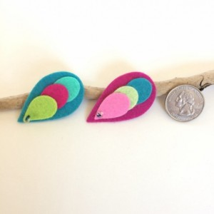 Bright Felt Clips, Toddler Hair Clip, Girl Accessories, Set of 2, Gift for Girls, Blue and Pink Barrette, No Slip Clip, Feather, Modern Baby