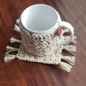 Mug wrap cozy and cup coaster matching set