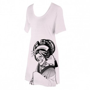 Light Pink Japanese Skeleton Oiran Screen Printed T-Shirt Dress, Ash Grey Apricot, Folklore, Goth, Gifts for Her