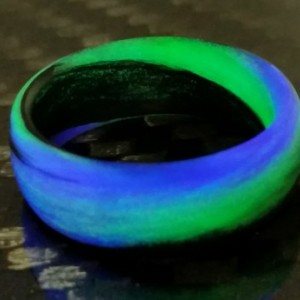 Men's or Women's Carbon Fiber Green/Purple/Black Marbled Glow Ring - Handcrafted - Black, Green and Purple Glowing Band - Custom Band widths