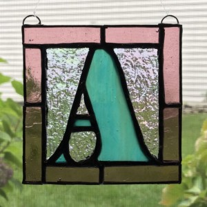 "4"" x 4"" Capital Letter Stained Glass Hanging"