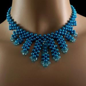 Sea blue freshwater pearl + turquoise Swarovski crystal beaded fringe choker. freshwater pearl + crystal choker. beaded pearl choker