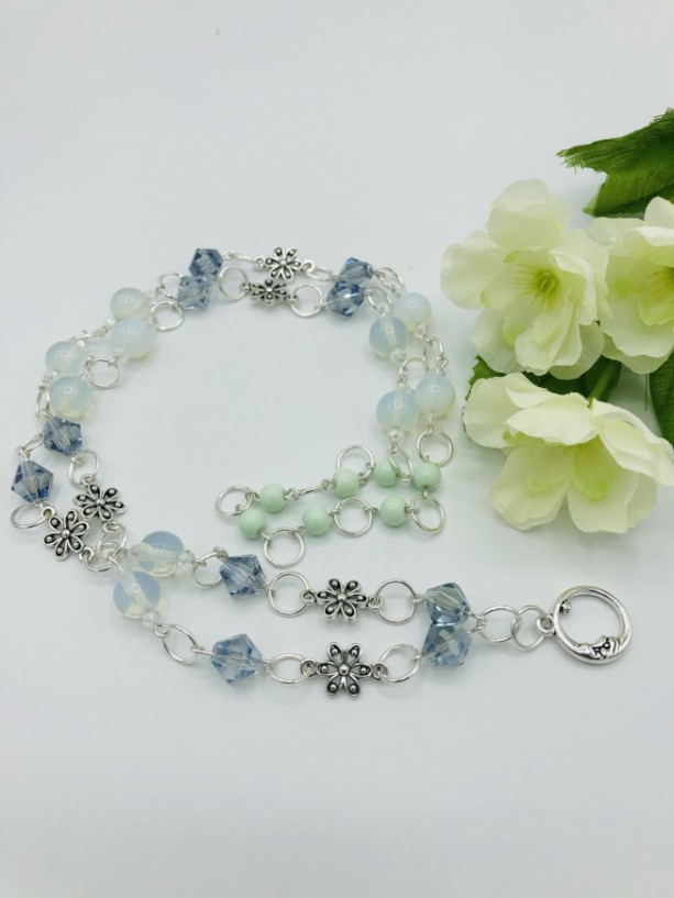 """30"""" Linked Moonstone and Crystal Necklace"""