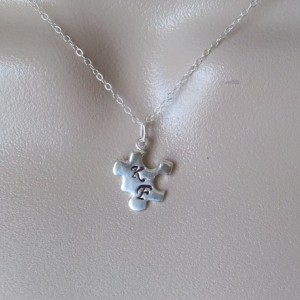 Sterling Silver personalized puzzle piece necklace
