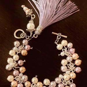 """Grateful"" Pearls Cluster Tassel Charm Bracelet"