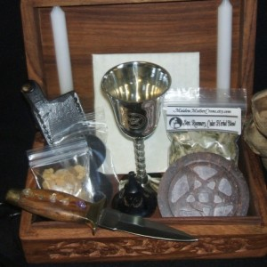 Wood Portable Basic Ritual Altar In A Box Kit