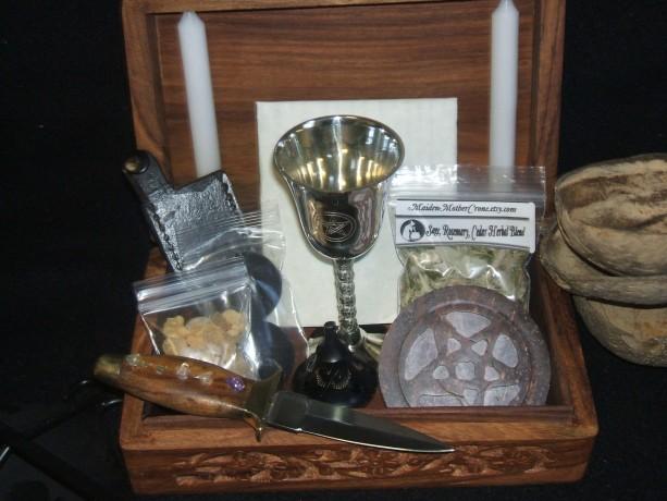Wood Portable Basic Ritual Altar In A Box Kit