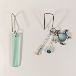 The Reagan | handmade asymmetric sea glass turtle earrings, rectangular wires, stainless steel, frosted beach glass, seafoam, Gifts for Her