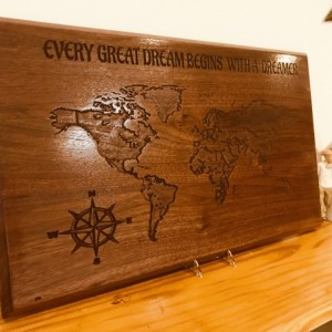 Wooden Wall Art, Walnut Engraved World Map