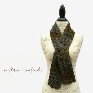 Midnight Whisper - Women's Handmade Fall and Winter Scarf in Green and Grey