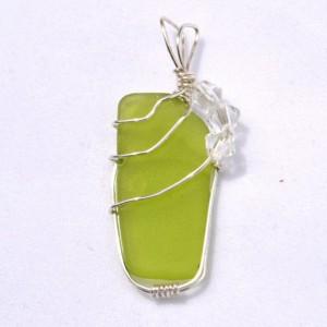 Green sea glass pendant, wire wrapped sea glass pendant, beach glass jewelry, sea glass jewelry, summer jewelry, jewelry for women