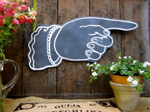 Chalkboard Pointing Finger Wall Hanging - Hand Painted