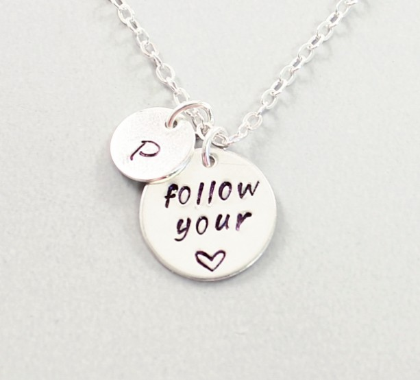 follow your heart inspirational necklace sterling silver initi