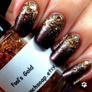"Nail Polish - ""Fool's Gold"" - Holographic Copper Brown Glitter - Hand Blended - 0.5 oz Full Sized Bottle"