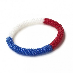 Red, White and Blue Seed Bead Bangle