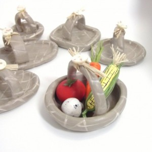 miniature hand made clay fruit and veggie basket