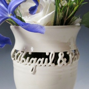 Personalized Wedding Vase with Names and Date