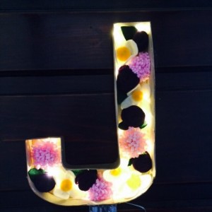 navy, pink, and ivory Floral light up letters, felt flowers, nightlight, home lighting, lighted letters, handmade felt flowers