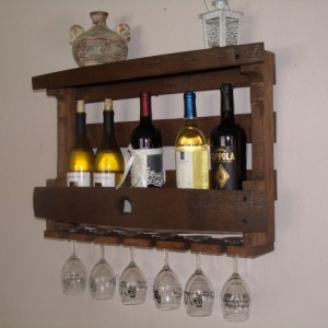 Rustic wine barrel wine, liquor bottle rack, barrel stave, pallet board wine rack