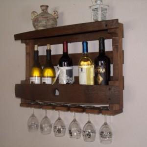 Rustic wine barrel wine, liquor bottle rack, barrel stave, pallet board wine rack