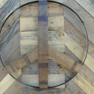 Wine Barrel Ring Band Peace Sign Yard Art