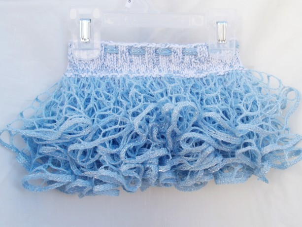 Sparkly Ruffle Skirt, Knit Baby Skirt, Infant, Newborn, Photo Prop, Tutu Skirt, White, Light blue, Silver Metallic