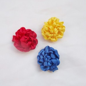 Satin Rosette Hair Clip Flower Trio - Red, Yellow, Blue