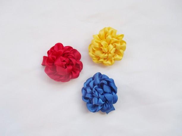 Satin Rosette Hair Clip Flower Trio - Red, Yellow, Blue