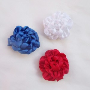 Patriotic Satin Flower rose Hair Clip Trio, Red, White, Blue