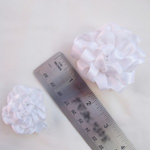 Satin Rosette Hair Clip Flower Trio - Red, Pink, White