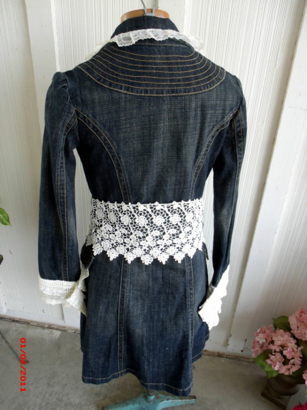 Recycled Denim Jacket Vintage Laces Romantic Shabby Style