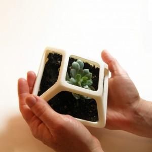 3D Printed Prism Planter, Square Flower Pot, Geometric Terrarium, Succulent Planter, Geodesic Container, Math Art, Polyhedra