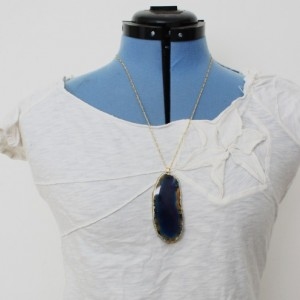 "Beautiful Gilded ""Lake of Death"" Amber Cerulean Agate Slice Large Geode Necklace."