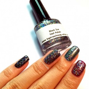 "Nail Polish - Holographic Micro Glitter - ""Black Ice"" - Hand Blended - 0.5 oz Full Sized Bottle"