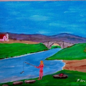 Farm Girl Gone Fishing Painting