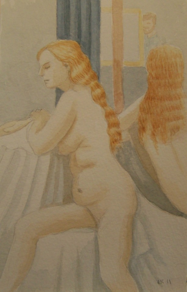 Girl with Golden Hair - Original Watercolor