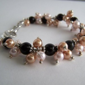 Glass pearl and sterling silver bracelet.