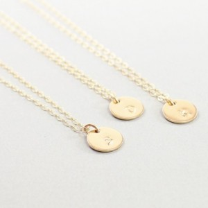 14k gold filled initial necklace, hand stamped personalized necklace, custom jewelry, unique bridesmaid jewelry,